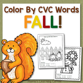 Fall Color By CVC Words Worksheet Packet