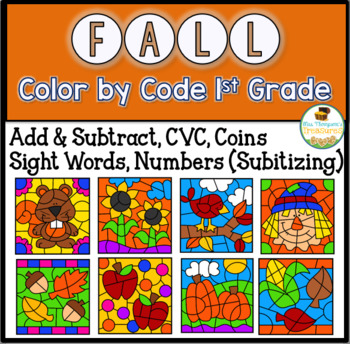Fall Color By Code First Grade