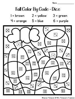 Fall Color By Code Kindergarten