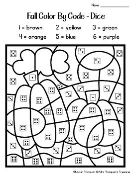 Fall Coloring Pages Color By Code Kindergarten