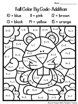 Fall Coloring Pages Color By Code Second Grade by Mrs ...