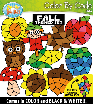 Fall Color By Code Shapes Clipart {Zip-A-Dee-Doo-Dah Designs}