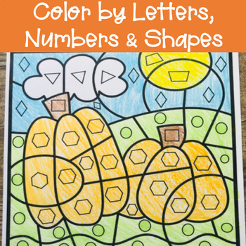 Fall Color By Letters, Numbers, & Shapes