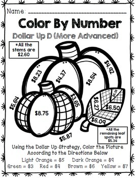 Fall Color By Number {Dollar Up} {Math} {Money ...