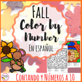 Fall Color By Number Spanish Version