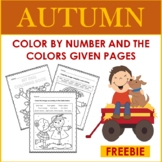 Fall Color By Number and By The Colors Given: Autumn (FREE)