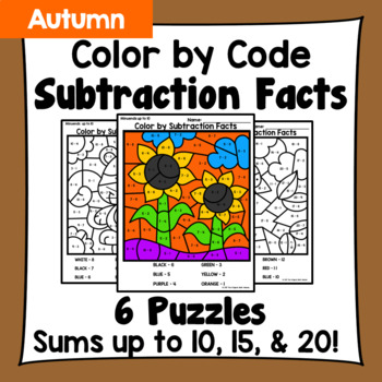 Fall Color By Subtraction Facts: Minuends up to 10, 15, & 20