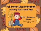 Fall Color By the Code Letter Discrimination Activity for K and First