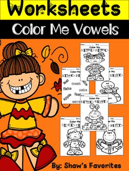 "Fall ""Color By Vowels"" Worksheets"