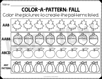 Fall Color-a-Pattern Worksheets FREEBIE
