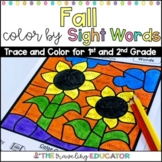 Fall Color by Code 1st and 2nd Grade Sight Word Worksheets