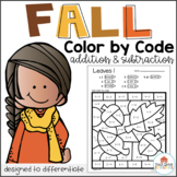 Color by Code Fall Addition and Subtraction