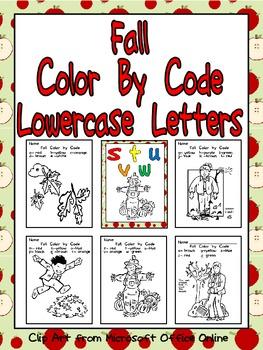 Fall Color by Code Lowercase Letters- Preschool or Kindergarten