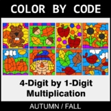 Fall Color by Code - Multiplication: 4-Digit by 1-Digit