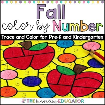Fall Color by Code Numbers 1-20 Worksheets by The Traveling Educator