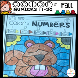 Fall Color by Code Numbers 11-20 Teen Number Activities
