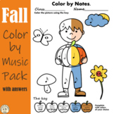 Fall Music Coloring Pages | Color by Note and Symbol