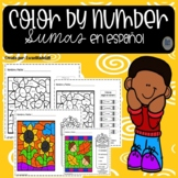 Fall Color by Number Addition in Spanish - Sumas - Colorea