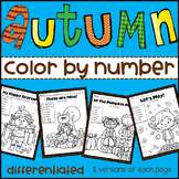 Fall Color by Number Differentiated(Numbers, Addition & Su