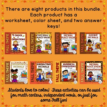 Fall Color by Number Math Bundle