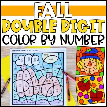 Fall Color by Number Mystery Pictures: Double Digit Addition & Subtraction