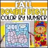Color by Number Fall Mystery Pictures: Double Digit Addition & Subtraction