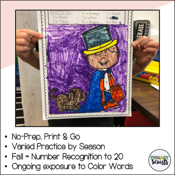 Fall: Color by Number, No PREP - Math Fluency-Center
