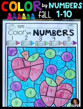 Fall Color by Numbers 1-10 Activities