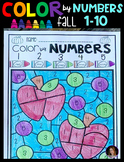 Fall Color by Code Numbers 1-10 Activities