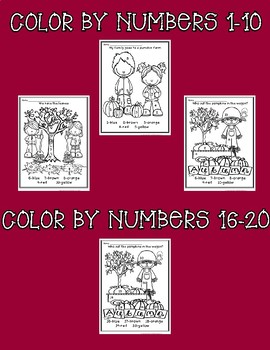 Fall ~ Color by Numbers and Sight Words