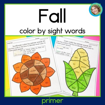 Fall Color by Primer Sight Words NO PREP
