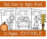 Fall Color by Sight Word - EDITABLE PRODUCT