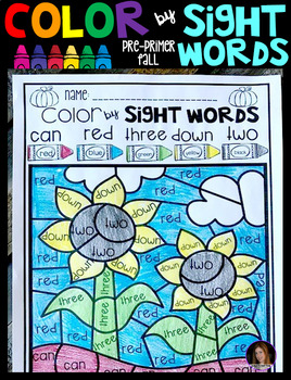 Fall Color by Code Sight Words Pre-Primer Sight Word Activities