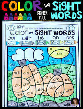 Fall Color by Sight Words Primer Sight Word Activities