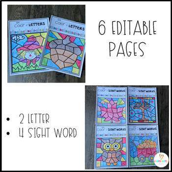 Fall Color by Skills for Preschool and Kindergarten  6 EDITABLE Pages