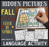 Fall Color by Symbol Hidden Images Language: Speech Therapy Activity