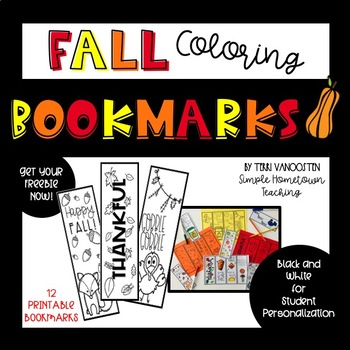 Fall Coloring Bookmarks