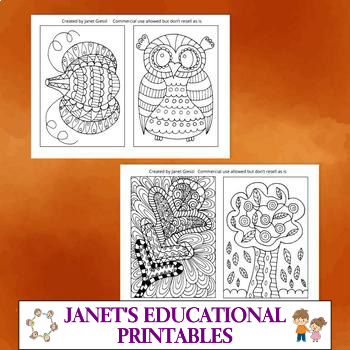 Fall Coloring Cards - Set of 4
