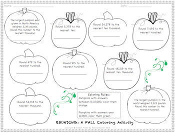 Fall/Halloween Coloring Math Activities: Rounding, Subtraction, Multiplication