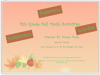 Fall/Halloween Coloring Math Activities: Rounding, Subtrac