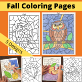 Fall Coloring Pages: Apples, Acorns, Owl, Pumpkins, Leaves