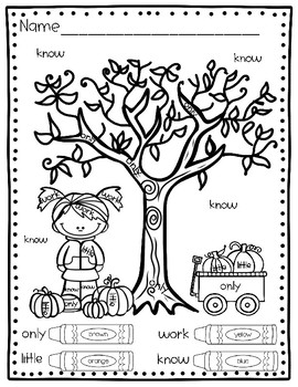 Fall Coloring Pages: Color By Sight Word (Fry's 2nd 100)