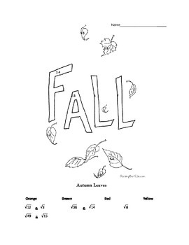 Fall Coloring Sheet for Estimating Square Roots