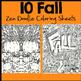 Fall Coloring Sheets - Zen Doodles, Just PRINT and GO!