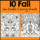 Fall Coloring Pages. Zen Doodles, Just PRINT and GO!