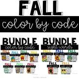 Fall Coloring Sheets with Sight Words, ELA and Math