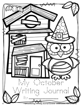 Fall (Coloring) Writing Journal Covers  Owl Themed