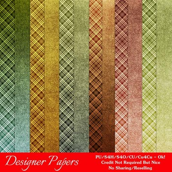 Fall Colors 4 A4 size Digital Papers (Plaids)