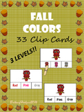Fall Colors Clip Cards: 3 Levels!! 11 Colors!