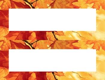 Fall Leaf Colors Desk Name Tag Plates Set